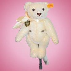 Steiff White Mohair Teddy Bear Special Edition Danbury Mint W/ Heart Jointed