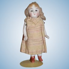 Antique Doll All Bisque Miniature Dollhouse Jointed Glass Eyes