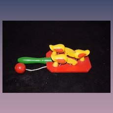Vintage Wood Chickens Pecking Eating Food Moving Paddle Toy