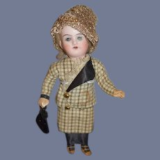 Antique Doll Miniature Bisque Head Dollhouse All Dressed Fancy Hat Sweet 201 DEP