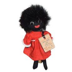 Wonderful Wee Golly Girl Golliwog Artist Limited Edition Robin Rive W/ Tag Black Cloth Doll