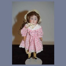 Antique Doll Miniature Bisque Head Glass Eyes Dollhouse