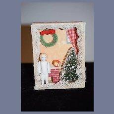 Miniature Doll Diorama Christmas Scene w/ Frozen Charlotte Dollhouse Christmas Scene