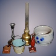 Sweet Doll Miniature Dollhouse Lot Crock Oil Lamp Candle Tin Mail Holder Bucket