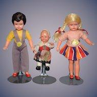 Old German Dollhouse Doll Set Family Miniature Dollhouse W/ Tags