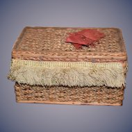 Old Miniature Sewing Box Wicker Old Fringe Sewing Basket Kit