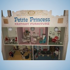 Wonderful Vintage Petite Princess Dollhouse Store Display Packed Full of Furniture and Dolls IDEAL W/ Miniatures