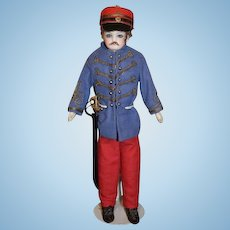 Antique Doll French Bisque Soldier W/ Mustache and Costume W/ Sword