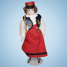Antique Doll French Soldier Lady Petite Size Closed Mouth Wonderful Clothes