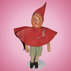 Old Cloth Felt Doll Character Elf Metal Feet Unusual Cloth Doll