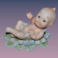 Vintage Kewpie Doll Figurine Lefton Doll on Leaf Sweet