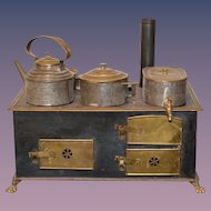 Old Metal Dollhouse Stove with Beautiful Details Salesman Sample
