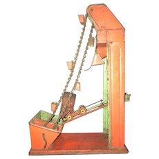 Vintage Tin Litho Beach Sand Toy Coal Mine Elevator Hand Crank