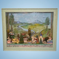 Wonderful Old Glass Diorama Room Box German Erzgebirge By Artist Norma Rodenbaugh Filled W/ Miniatures Glass Front Dollhouse Animals
