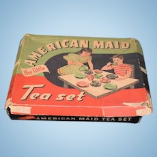 American Made Akro Agate Tea Set HUGE Wonderful For Doll or Child Original Box