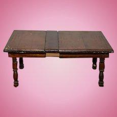 Old Doll Primitive Wood Miniature Table w/ Leaf Charming