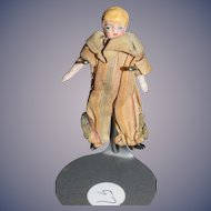 Antique Doll Miniature Dollhouse All Bisque Jointed Doll In Original Jester Outfit