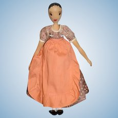 Wonderful Carved Wood Doll Jointed Polly Shorrock Alice Wainwright Doll Signed Fancy Bun