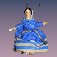 Wonderful Miniature Wood Doll Dollhouse Fancy Hair Style Unusual Artist Doll