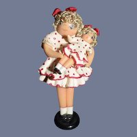 Artist Doll Miniature Shirley Temple Holding Shirley Temple Doll Dollhouse