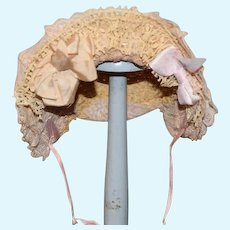 Sweet Doll Hat Bonnet Artist Made Straw & Lace