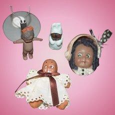 Artist Lot of Black Doll Set Miniature Lot Dollhouse