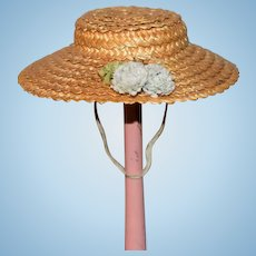 Vintage Doll Straw Hat Bonnet W/ Flowers Brim