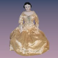 "Wonderful China Head By Emma Clear HUGE Covered Wagon Fab Clothes Artist Doll 25"" Tall"