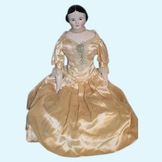 """Wonderful China Head By Emma Clear HUGE Covered Wagon Fab Clothes Artist Doll 25"""" Tall"""