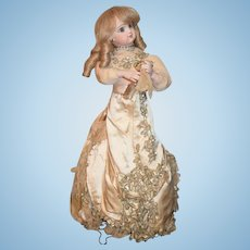 Antique Doll Automaton Leopold Lambert Lady W/ Perfume Bottle and Hankie Works French Bisque Closed Mouth
