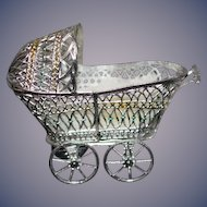 Vintage Doll Soft Metal Pram Buggy Carriage Miniature Dollhouse