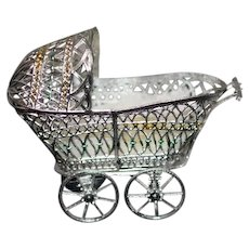Vintage Doll Soft Metal Pram Buggy Carriage Miniature Dollhouse