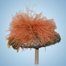 Old Fancy Doll Hat W/ Brocade and Feathers & Velvet Ornate For  Princess or French Doll