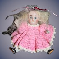 Antique Doll Miniature Dollhouse All Bisque Jointed Glass Eyes Sweet Kestner