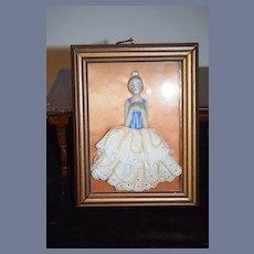 Old Unusual Half Doll Framed W/ Beaded Skirt Miniature China Head
