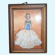Old Unusual Half Doll Framed W/ Beaded Skirt Miniature China Head