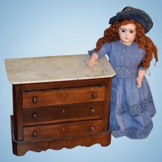 Antique Doll Miniature Marble Top Chest Brass Key Holes Bead Work around Trim Doll Furniture