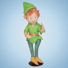 Old Felt Cloth Doll Peter Pan Wonderful Painted Features