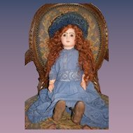 Antique Doll French Bisque BeBe Jumeau Closed Mouth Red Head Gorgeous