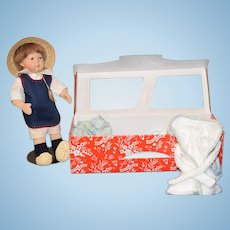 Kathe Kruse Doll In Original Box UFDC Fritzel Artist Doll Box W/ Extra Clothes and COA