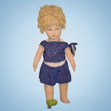 Old Cloth Doll Felt Jointed Painted Features Sweet!