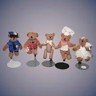 Artist Doll Miniature Teddy Bear Set Five Bears Jointed Dollhouse
