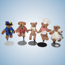 Artist Doll Miniature Teddy Bear Set Five Bears Jointed Dollhouse