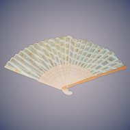 Green Floral Pattern Hand Fan Wood For Doll