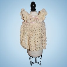 Vintage Doll Hand Made Crochet Dress Ruffle Top Sweet