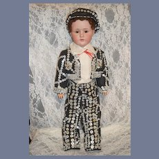 Antique Doll Kestner  JDK 249 Bisque Boy in FAB Pearly Outfit