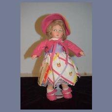 Sweet Cloth Doll Lenci Doll W/ Unusual Token Dog Diana W/ Tags Sweet