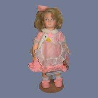 Vintage Lenci Doll Cloth Doll W/ Goose Aurelia