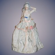 Old Fancy Half Doll China Head W/ Skirt and Wire Base
