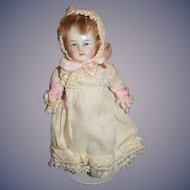 Antique Doll All Bisque Jointed Sweet Outfit Miniature Dollhouse